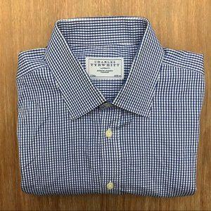 CHARLES TYRWHITT Blue Gingham Check Dress Shirt
